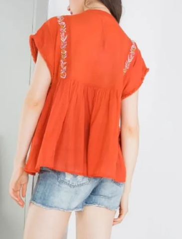 PURDEE EMBROIDERED TOP IN BURNT ORANGE