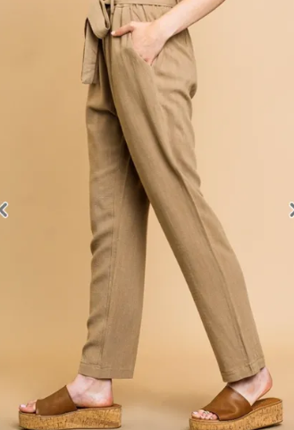 LINEN BLEND HIGH WAIST STRAIGHT LEG PANT
