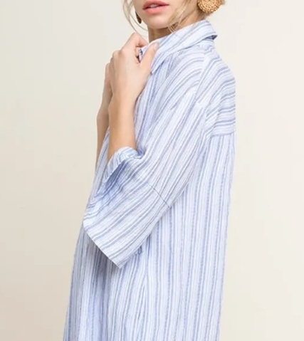 JALUCA BLUE STRIPED SHIRT DRESS