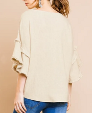 BELLE LAYERED BELL SLEEVE V-NECK TOP
