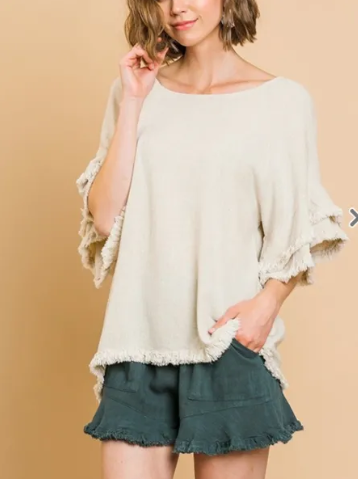 RUMBA LAYERED RUFFLE SHORT SLEEVE ROUND NECK TOP