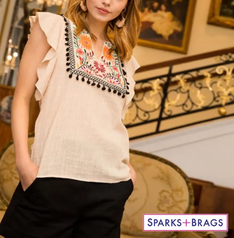 SHELLY EMBROIDERED BIB TOP