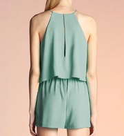 DOUBLE LAYER TEXTURE SOLID ROMPER
