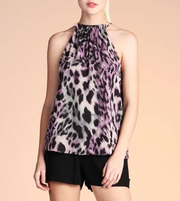 FERAL FELINE ANIMAL PRINT CHIFFON RUFFLE NECK TOP