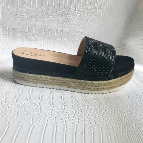 LUCY BLACK WEDGE ESPADRILLE SANDAL