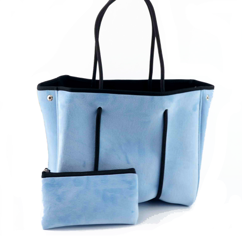 ON THE GO TOTE - SKY BLUE VELVET