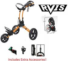 Clicgear Rovic 3 Wheel Push Cart RV1S Golf Stuff - Save on New and Pre-Owned Golf Equipment Peach Frame/Black Wheel