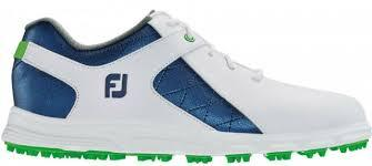Footjoy Junior Boys Spikeless Pro SL White/Blue Shoes 45039