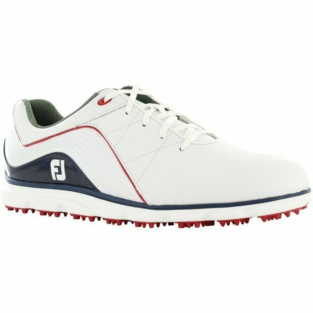 Footjoy Pro S/L Spikeless Shoes 53269 White/Blue/Red Golf Stuff