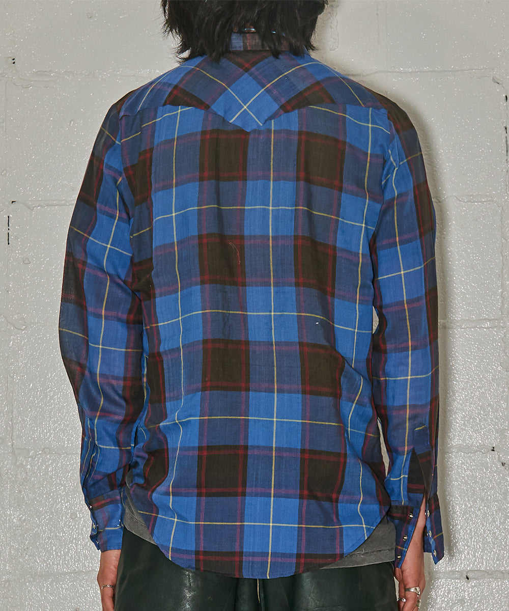1980s Polyester Check Western Shirt