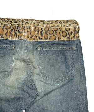 Leopard Switching Studded Denim Pants