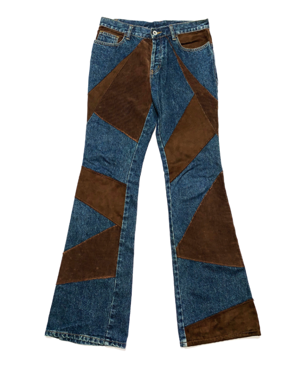 Corduroy Patchwork Flare Denim