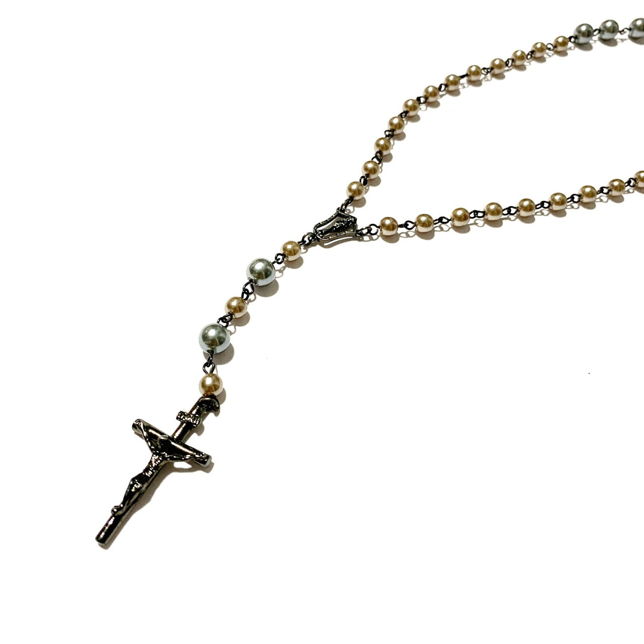 Bi Color Pearl Rosary Necklace