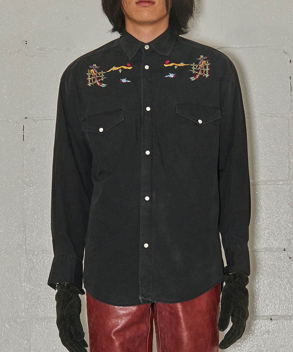 1990's Embroidery western shirt