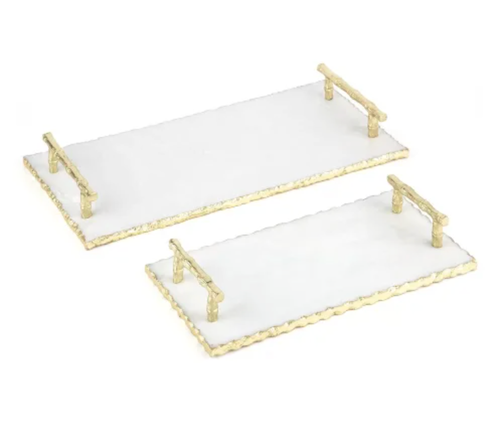 Marble Trays With Gold Edge