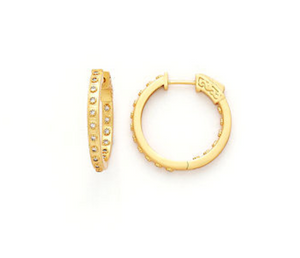 Gold Brushed CZ Hoop