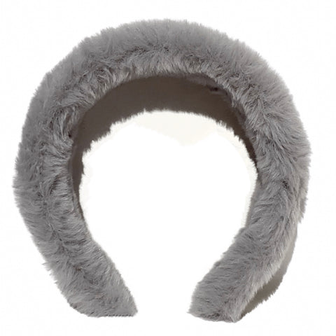 Plush Fuzzy Headband - Grey
