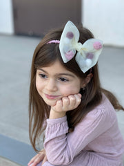 Mesh Bow Hairband - White