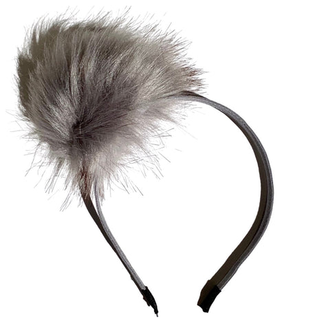 Fuzzy Ball Headband - Grey