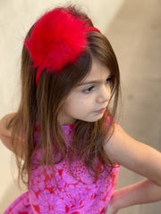 Fuzzy Ball Headband - Red