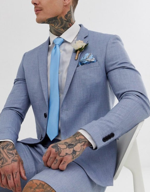 Light Blue Tie with Floral Print Pocket Square