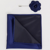 Navy Floral Lapel Pin with Pocket Square