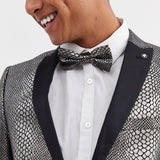 Snake Print Bow Tie Metallic Black
