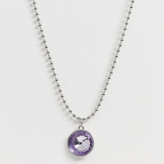 Silver Tone Chain with Crystal Gem Pendant