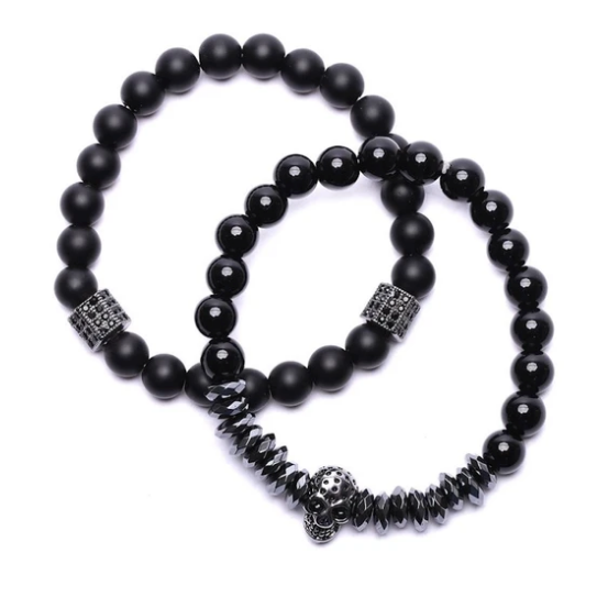 Skull Beaded Bracelets - Set of 2