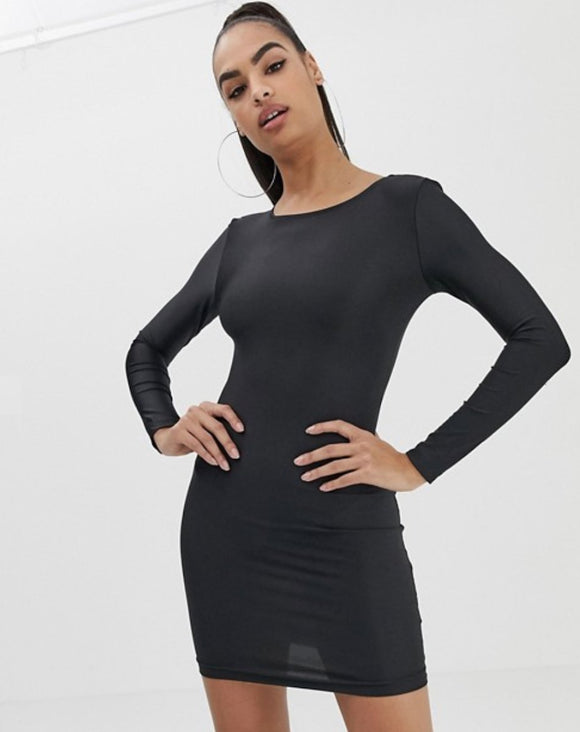 Black Long Sleeve Tube Dress - Open Back