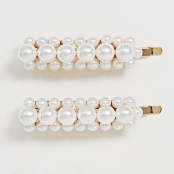 Oversized Faux Pearl Hair-clips 2-Pack