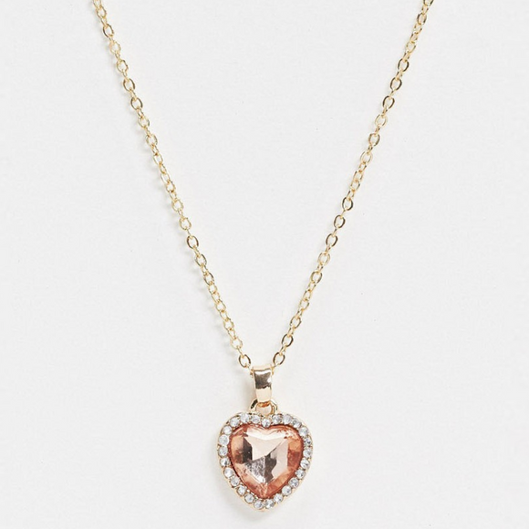 Pink Heart Jewel Pendant Necklace