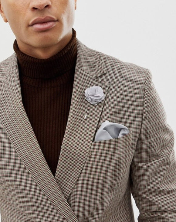 Gray Floral Lapel Pin with Pocket Square