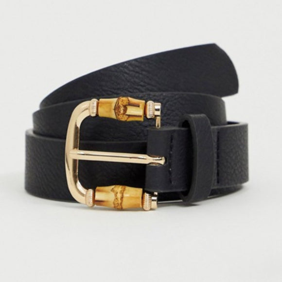 Black Belt with Bamboo Detail Buckle