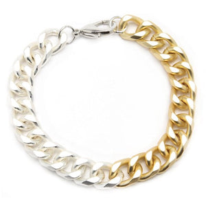 Two Tone Cuban Link Bracelet