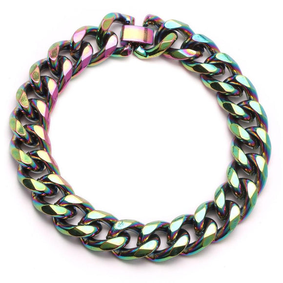 Oil Slick Cuban Link Bracelet