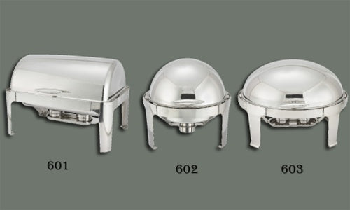 WINCO Stainless Steel Full Size Roll Top Chafer - 8 Qts.