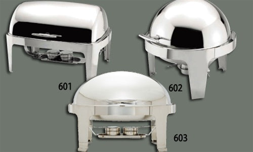 WINCO Madison Collection Stainless Steel Full Size Oval Roll Top Chafer - 7 Qts.
