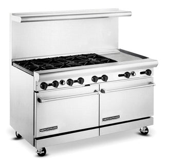 "American Range AR-6B-24RG 60"" Wide Heavy Duty 6 Burners 24"" Raised Griddle Restaurant Range"