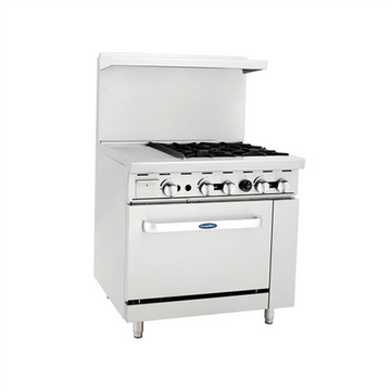 ATOSA ATO-12G4B, 36-Inch 4 Burner Heavy Duty Gas Range with 12-Inch Left Griddle and Single Oven