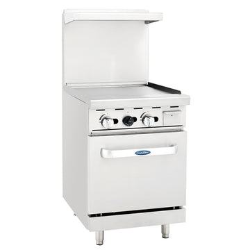 ATOSA ATO-24G, 24-Inch Heavy Duty Gas Range with Griddle Top and Single Oven