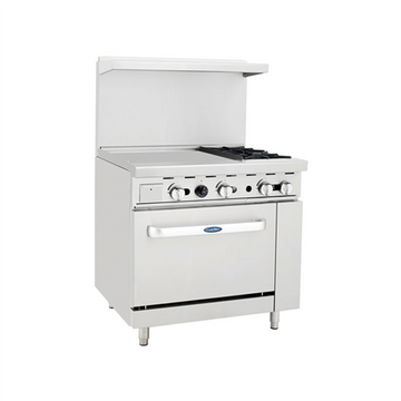 ATOSA ATO-24G2B, 36-Inch 2 Burner Heavy Duty Gas Range with 24-Inch Left Griddle and Single Oven