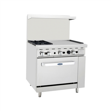 ATOSA ATO-2B24G, 36-Inch 2 Burner Heavy Duty Gas Range with 24-Inch Right Griddle and Single Oven