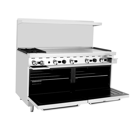 ATOSA ATO-2B48G, 60-Inch 2 Burners Heavy Duty Gas Range with 48-Inch Right-Handed Griddle and 2 26-1/2-Inch Ovens