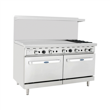 ATOSA ATO-48G2B, 60-Inch 2 Burners Heavy Duty Gas Range with 48-Inch Left-Handed Griddle and 2 26-1/2-Inch Ovens