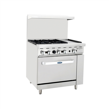 Atosa ATO-4B12G, 36-Inch 4 Burner Heavy Duty Gas Range with 12-Inch Right Griddle and Single Oven