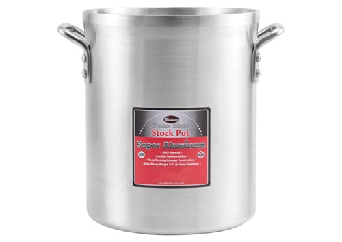 "WINCO Extra Heavy 1/4"" (6 mm) Aluminum Stock Pot- 60 Qts."