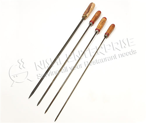 Stainless Steel BBQ Skewers for Kebab - rectangle - 6 mm with wooden handle