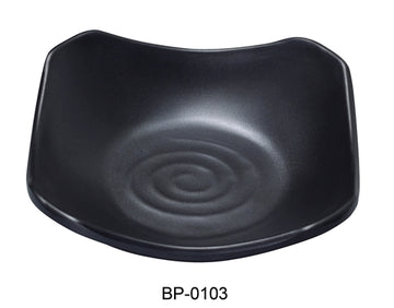 "Yanco BP-0103 Black pearl-1 New Square Dish, 3.5"" Length, 3.5"" Width,  Melamine, Black Color with Matting Finish, 72/Case"