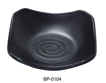 "Yanco BP-0104 Black pearl-1 New Square Dish, 4.5"" Length, 4.5"" Width, Melamine, Black Color with Matting Finish, 72/case"
